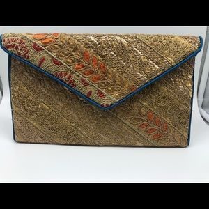 Indian handmade recycled fabric clutch bag